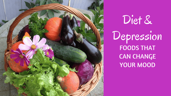 Title: Diet and Depression: Foods that can change your mood with picture of a basked of vegetables and flowers