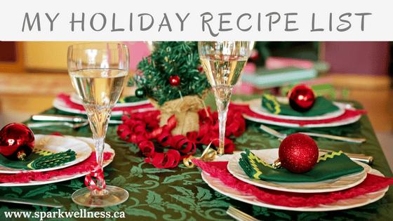 My Holiday recipe list