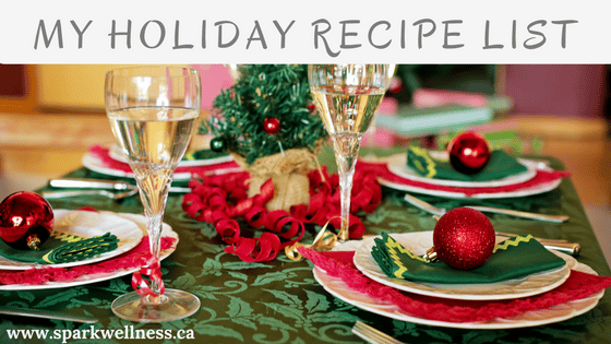 My Holiday recipe list