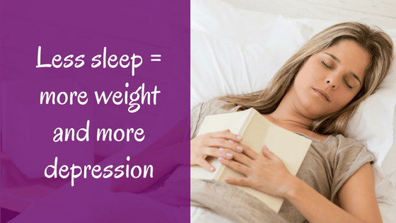 Title: Sleep, weight gain and mental health, picture of a woman sleeping with an open book on her chest