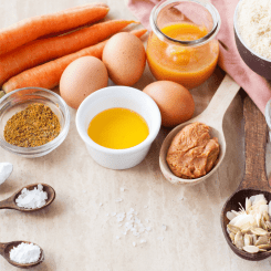 Carrots, oil, eggs, ingredients for baking