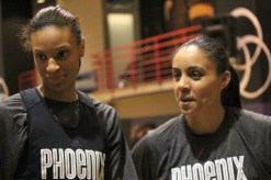 DeWanna Bonner and Candace Dupree speak with reporters after practice (By Bryce Patterson)