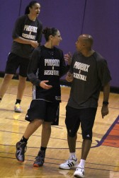 Diana Taurasi speaks with coach Corey Gaines during practice (By Bryce Patterson)