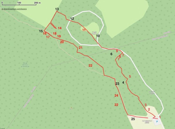 Map of the walk to take starting at the Conservation Centre