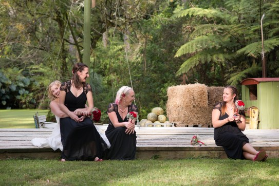 Bride and maids chilling out