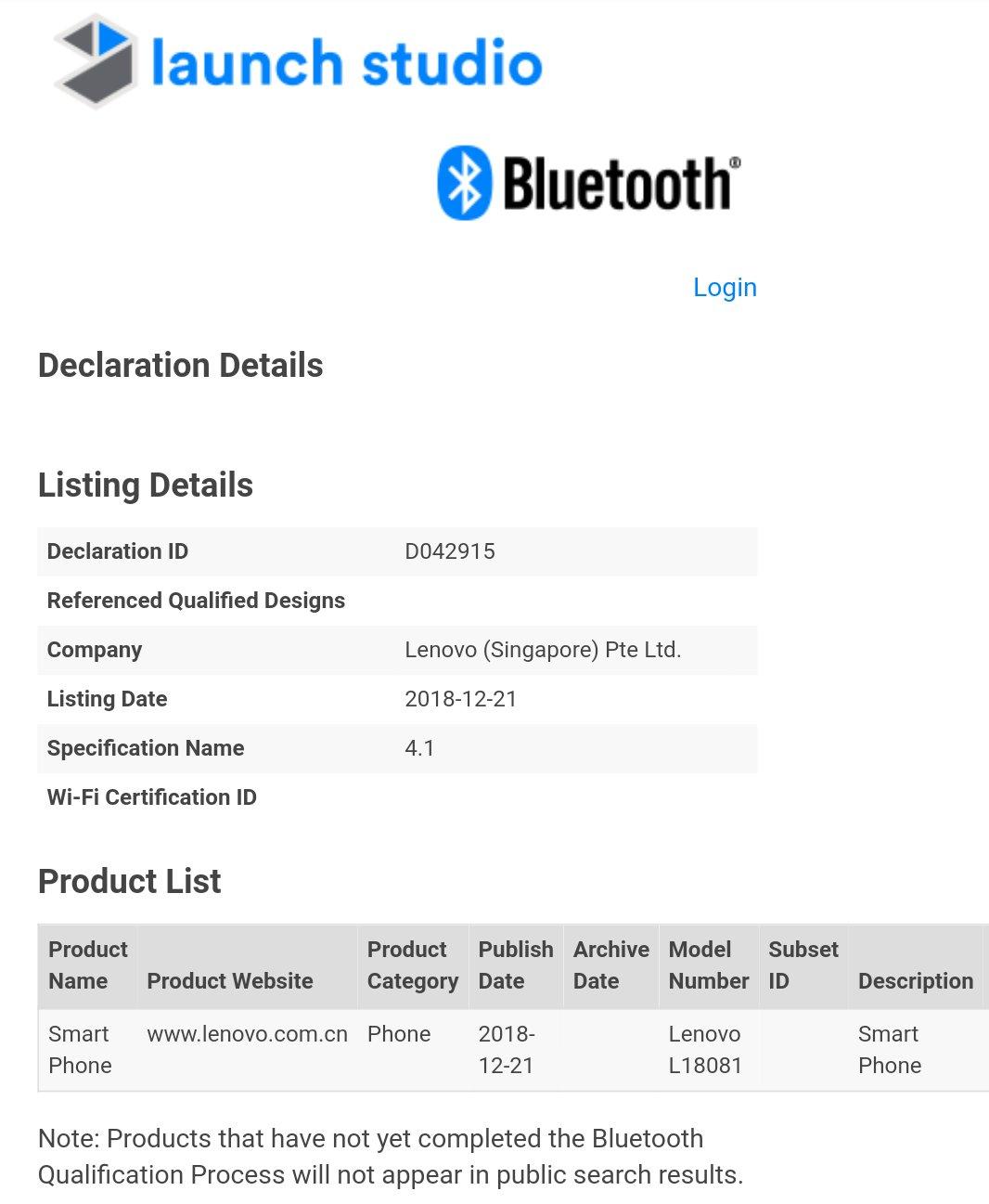 Lenovo 18081 Bluetooth certification