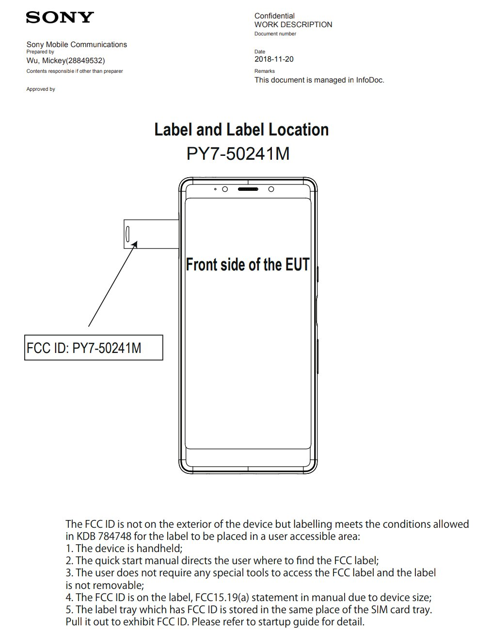 Sony Xperia L3 FCC CERTIFICATION