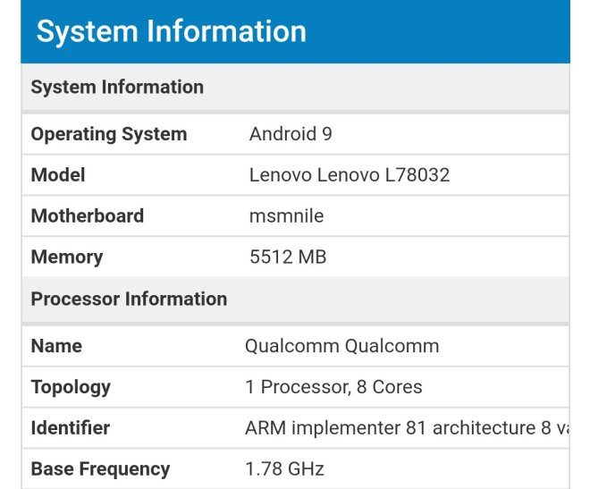 Lenovo Z5 Pro GT 855 geekbench