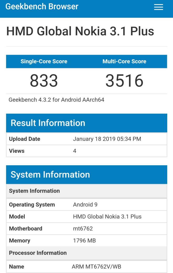 Nokia 3.1 Plus Running Android Pie on Geekbench
