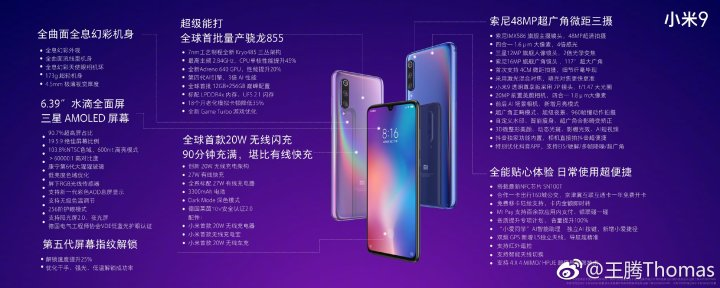 Xiaomi mi 9 Complete Specifications