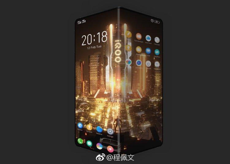 Vivo new brand iQOO folding screen mobile phone rendering map exposure 1