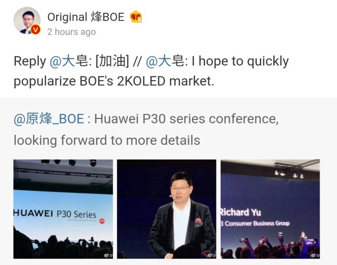 Huawei P30 Pro display manufacturer
