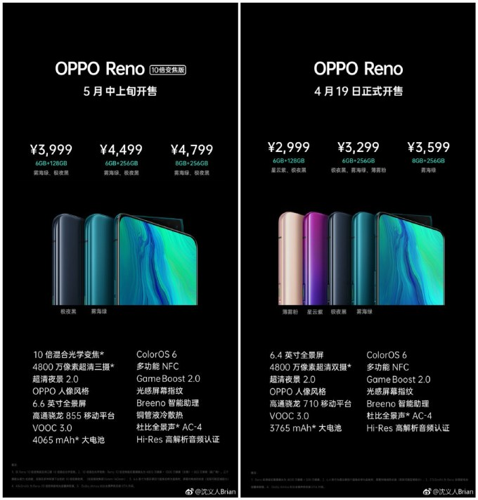 Oppo Reno Series Pricing