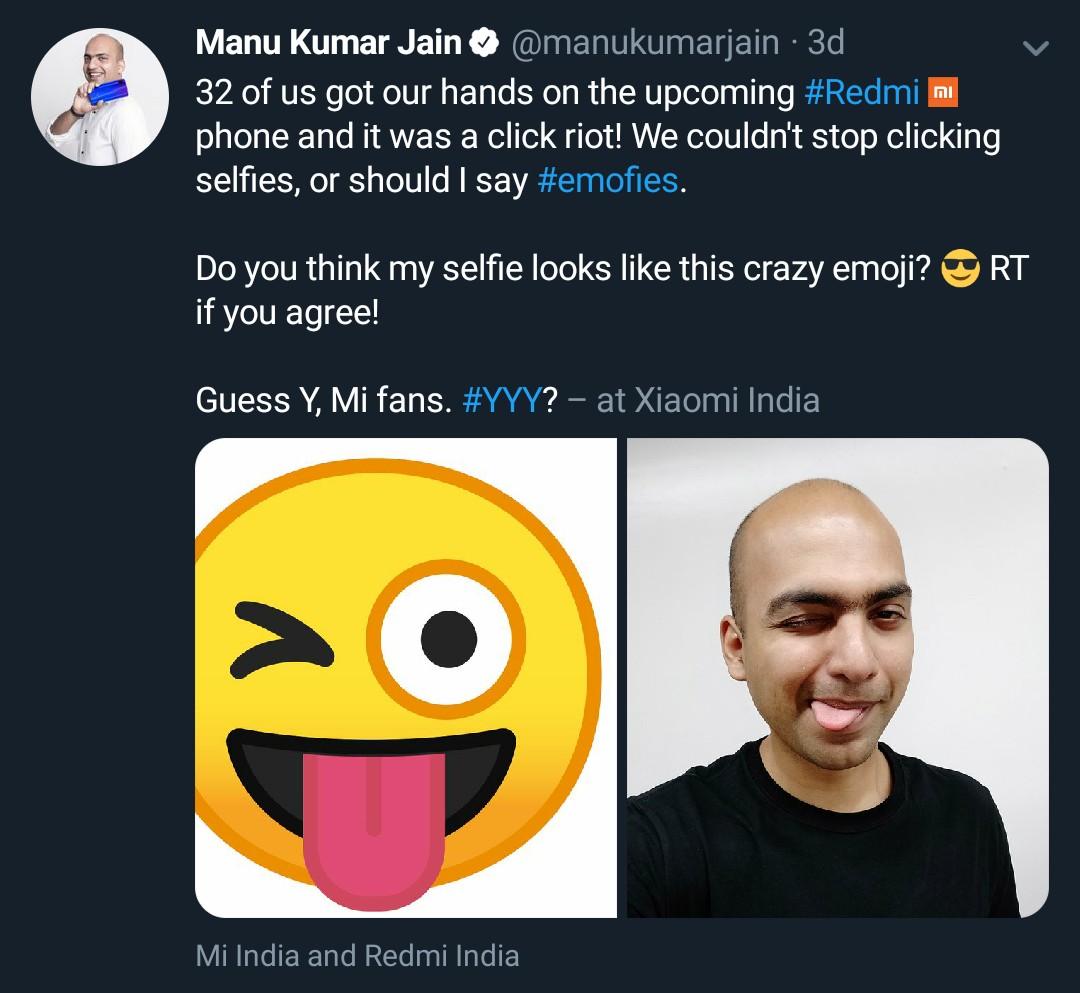 Redmi Y3 hint by Manu Kumar