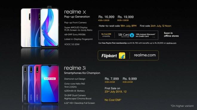 Realme X price in India, realme 3i proce
