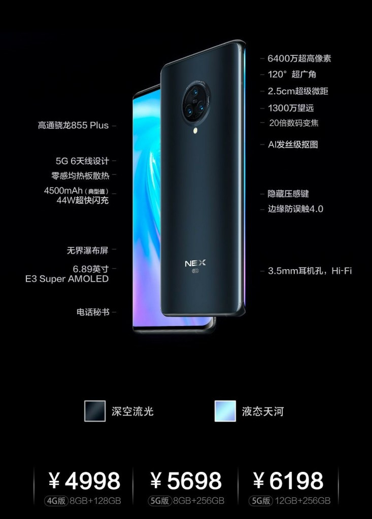 Vivo Nex 3 Series Price and Storage options
