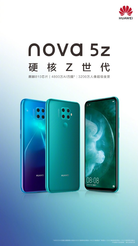 Official poster of Huawei Nova 5z and Specifications