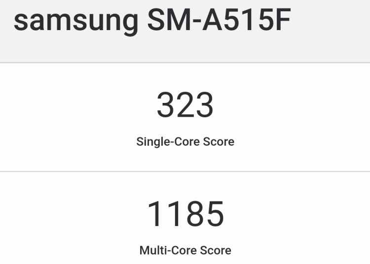 Samsung Galaxy A51 SM-A515F Geekbench Running Score