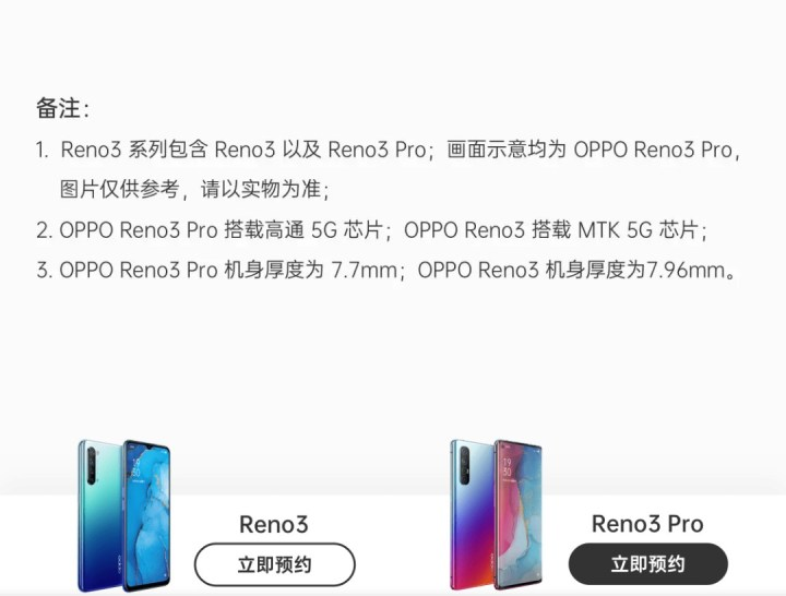 Difference between Oppo Reno3 pro and Reno3