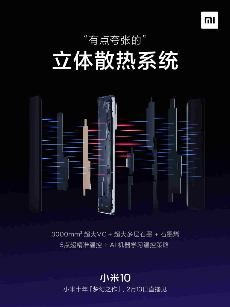 Xiaomi Mi 10 Stereo cooling system
