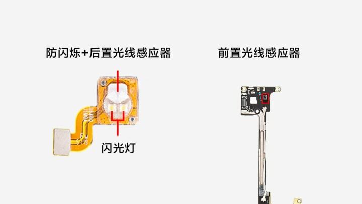 Front light sensor, anti-flicker + rear light sensor, flash