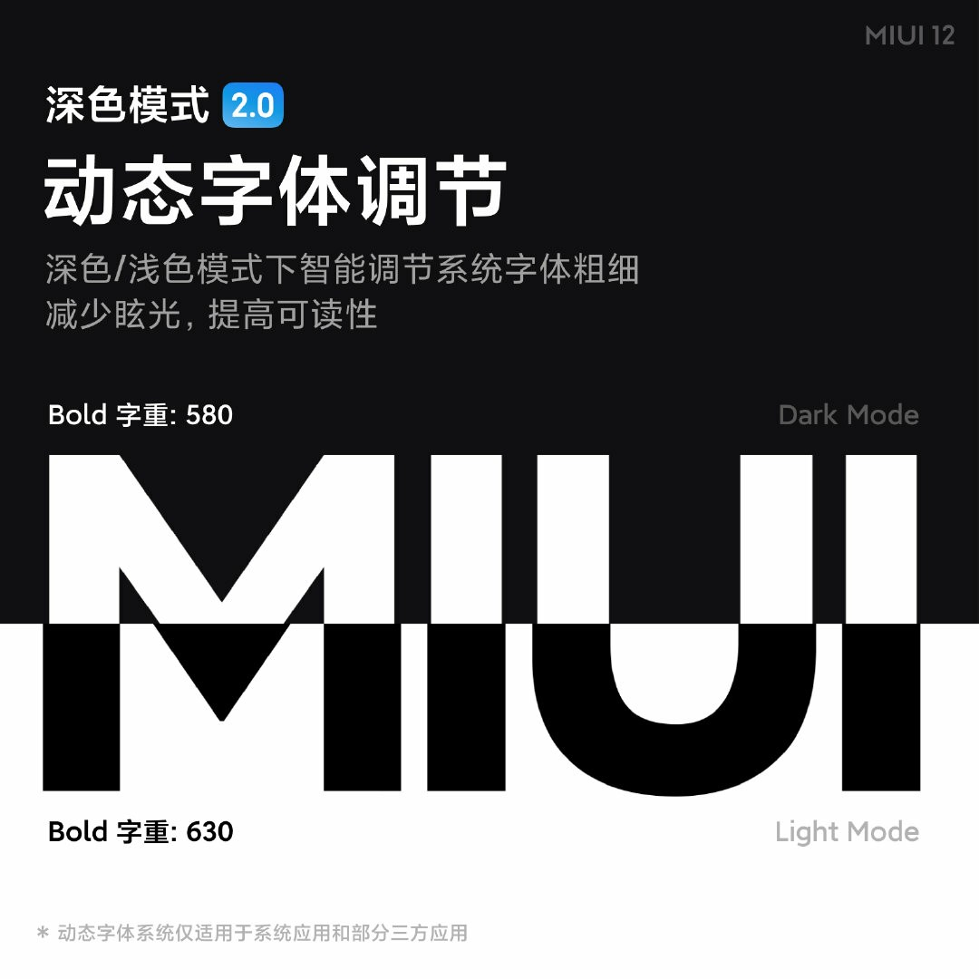 MIUI 12 Dark Mode 2.0 + Automatically adjust the weight of text, reduce glare