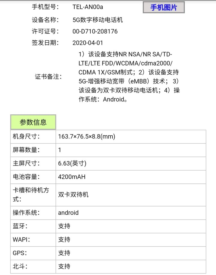 Honor X10 Specifications