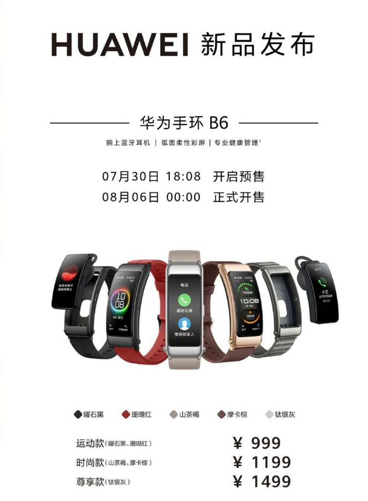 Huawei TalkBand B6 Price And Availability