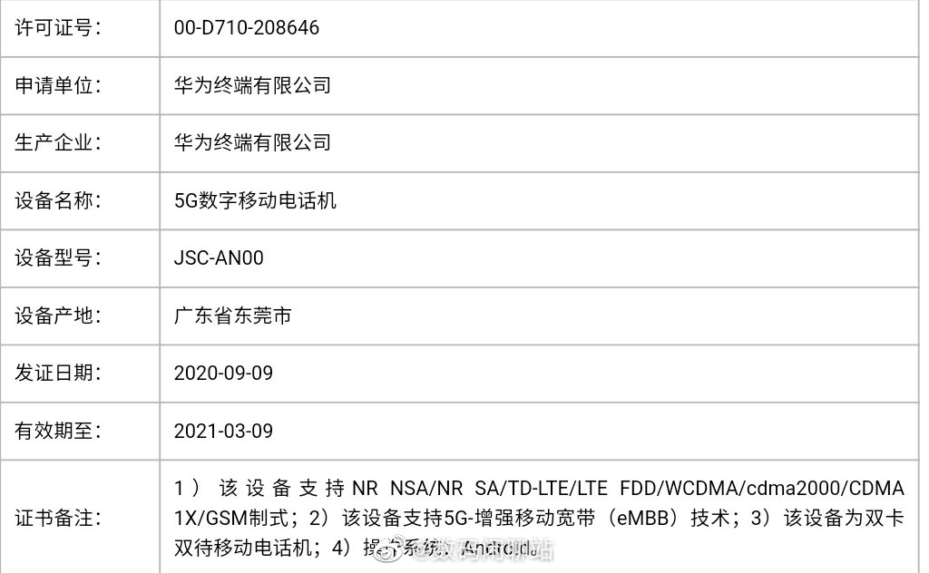 Huawei Nova 8 Series MIIT certification