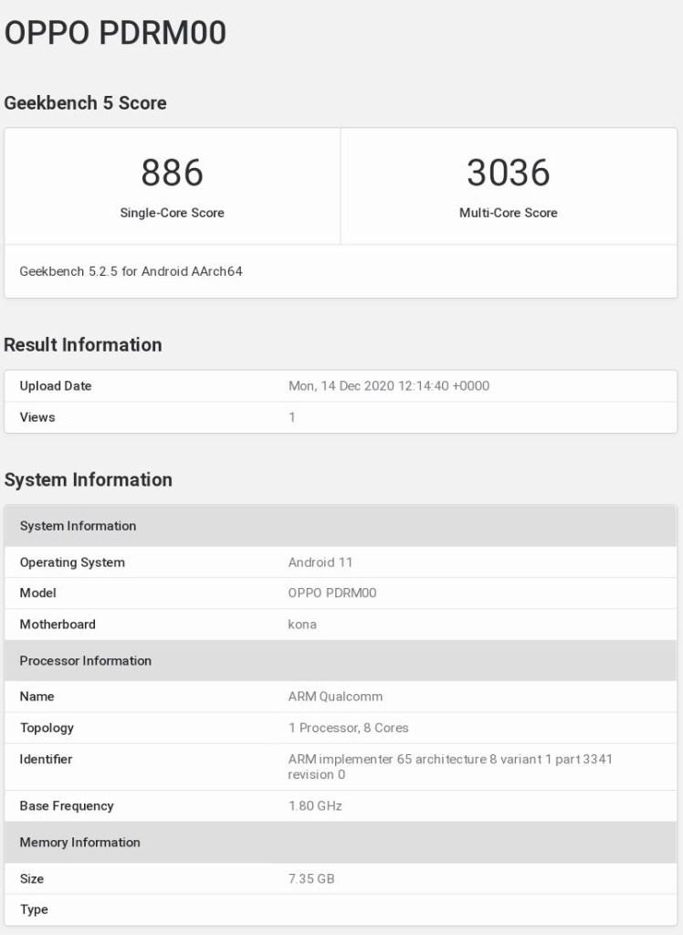 Oppo Reno5 Pro+ Geekbench
