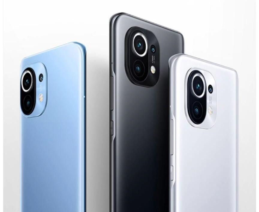 Xiaomi 11 Classic black/white/blue color scheme