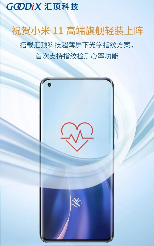 Xiaomi 11 Fingerprint with hear rate detection