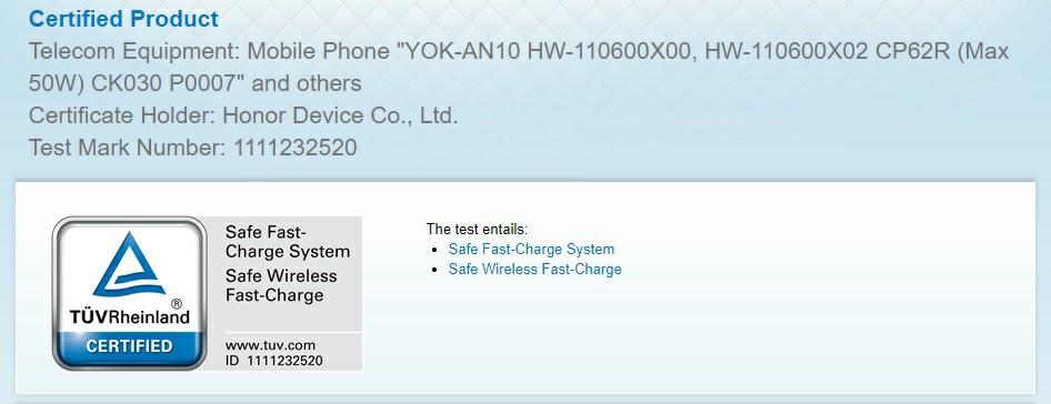 Honor V40 TUV Rheinland Certification