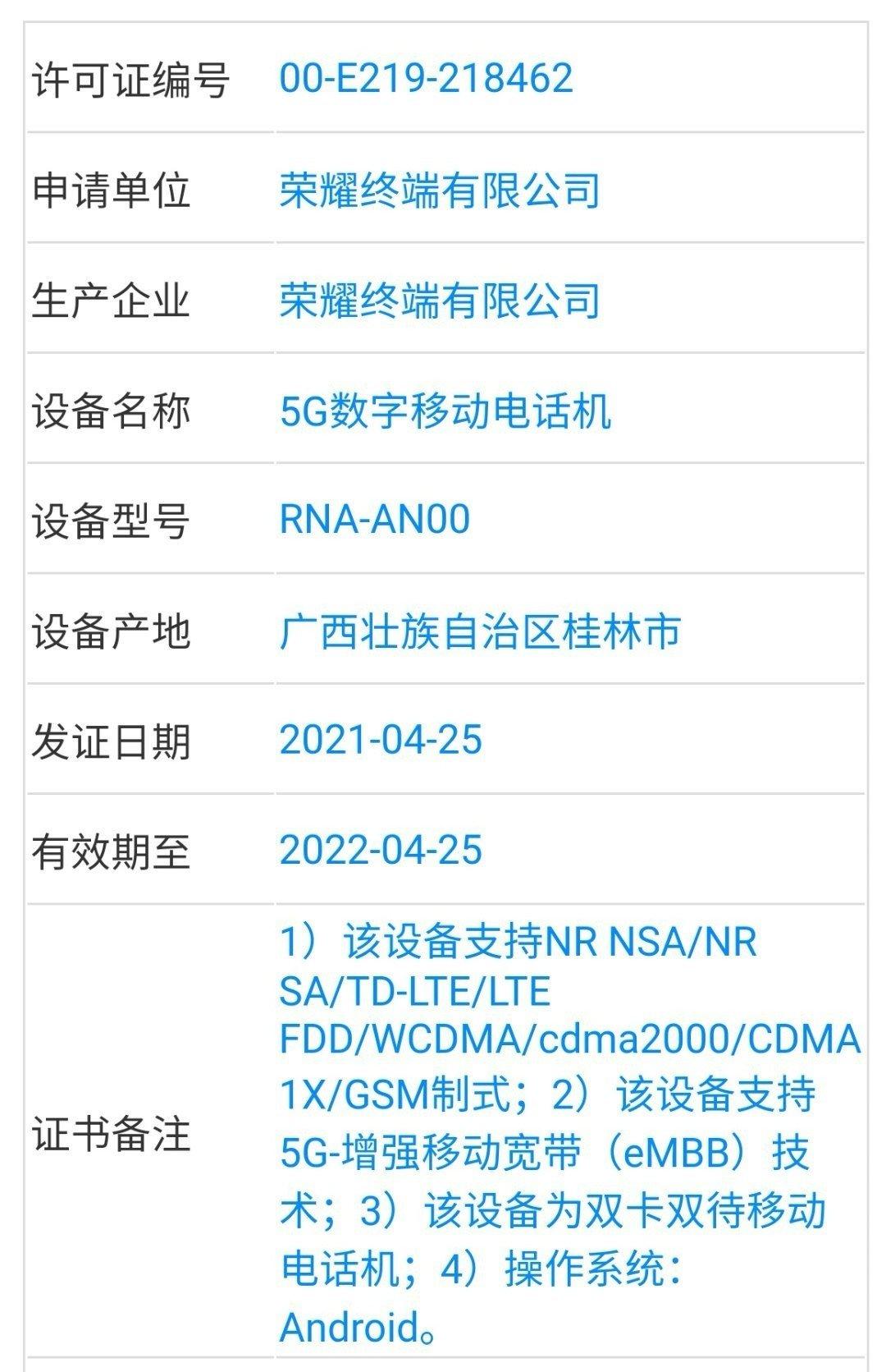 Honor RNA-AN00