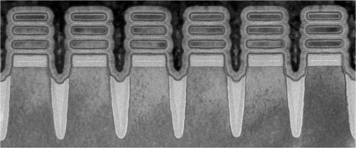 Row of IBM 2nm Chip nanosheet devices