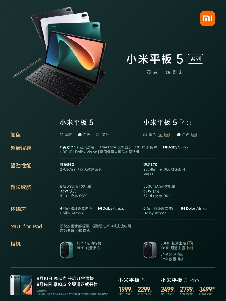 Xiaomi Tablet 5 and 5 Pro specifications comparison