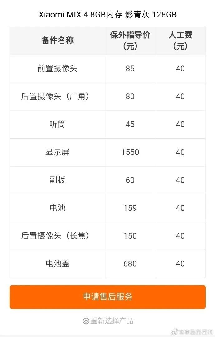 Xiaomi Mix 4 Repair Cost