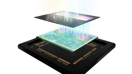 SPAD ToF depth sensor stacked configuration (Top: SPAD pixels, bottom: distance measuring processing circuit)