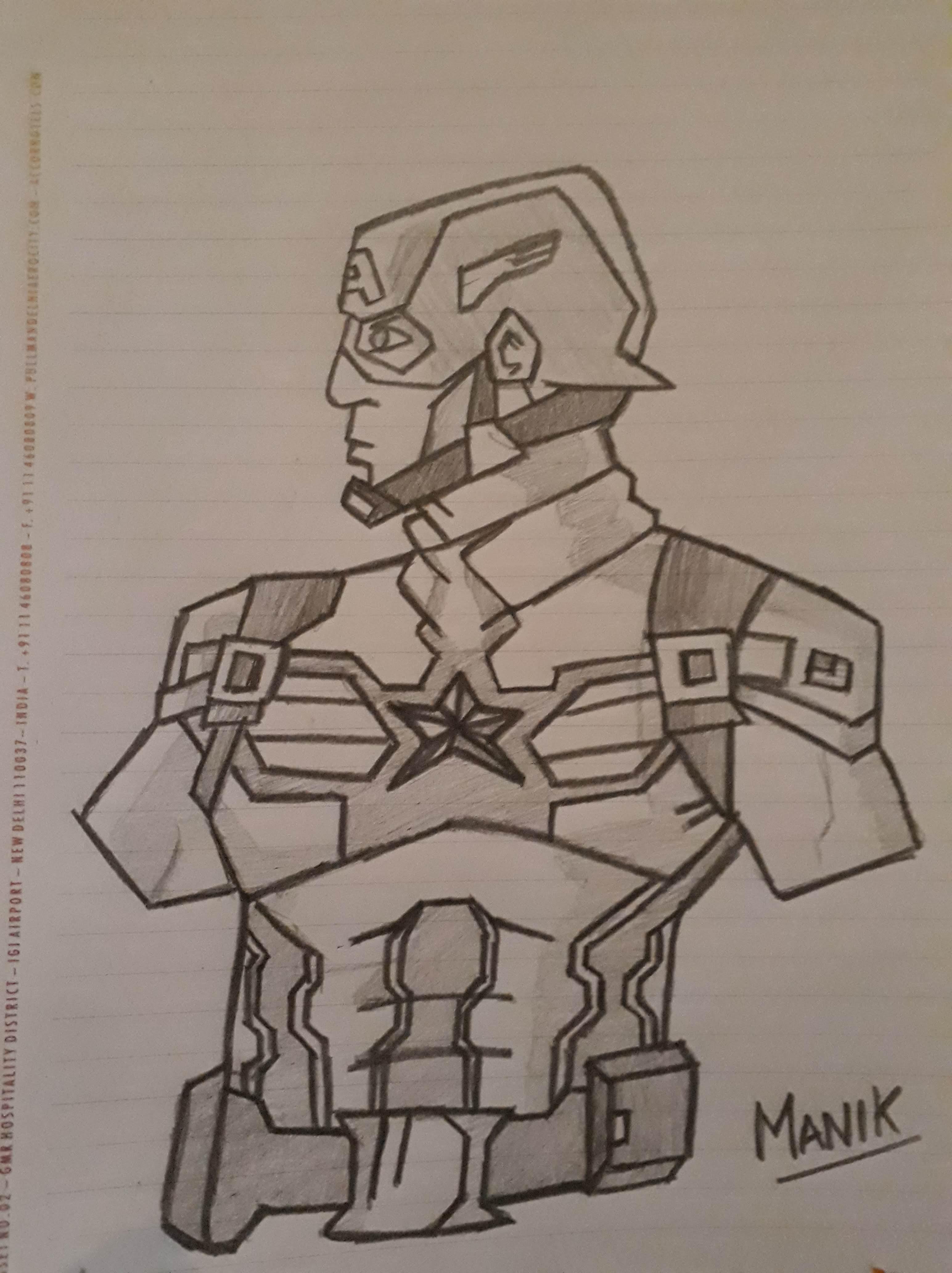 How to make a pencil sketch of Captain America