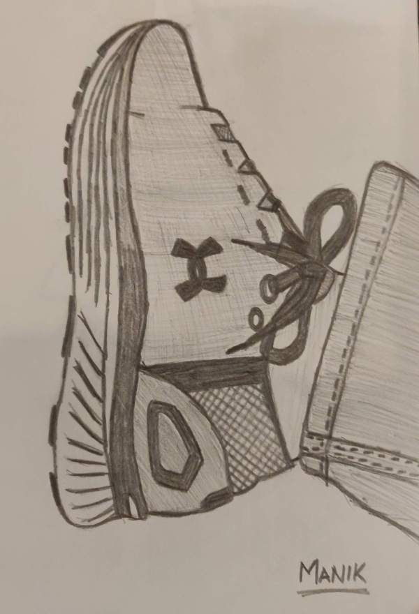 Pencil sketch of Under Armour Shoe