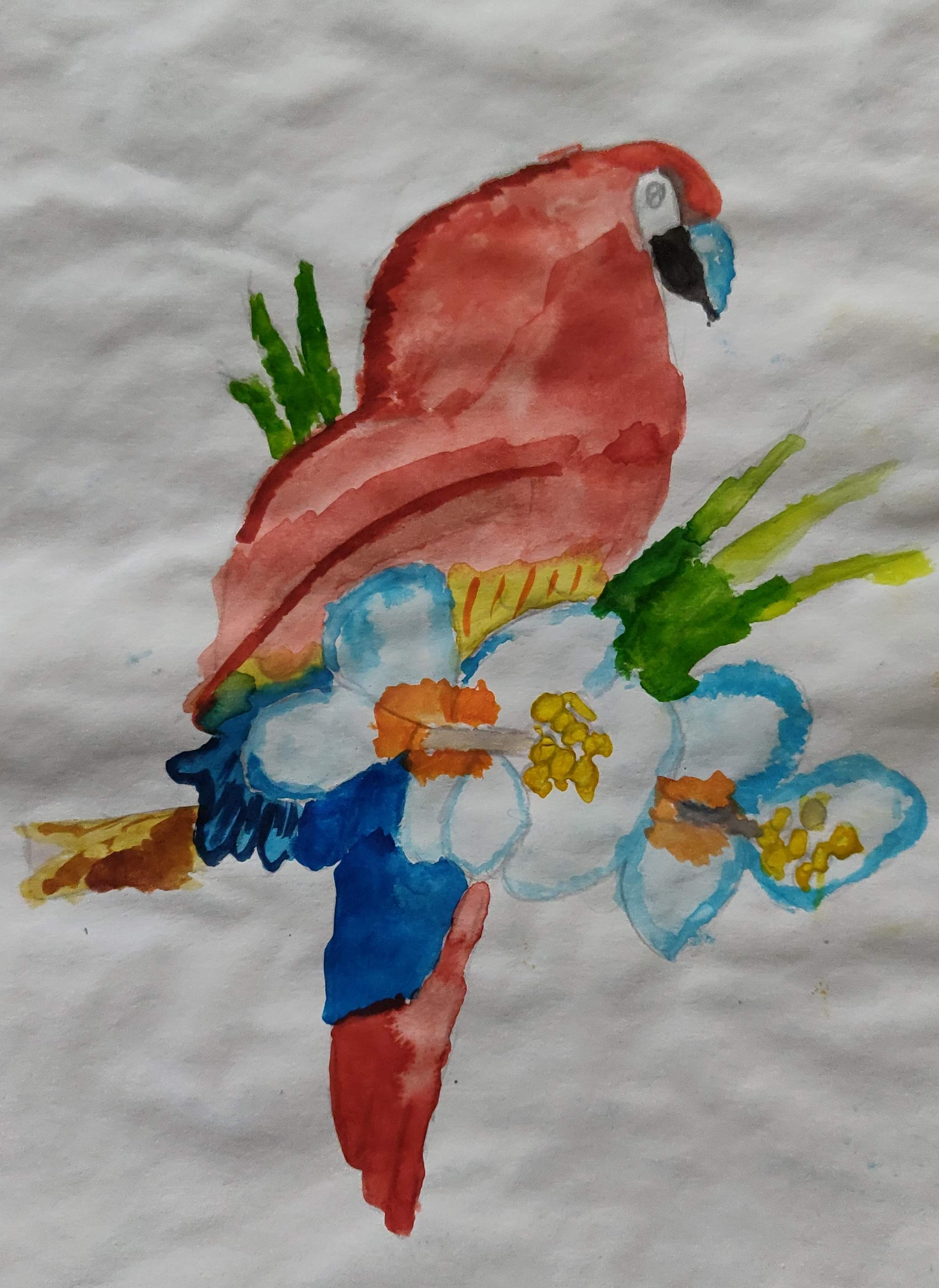 How to paint a parrot with water colors