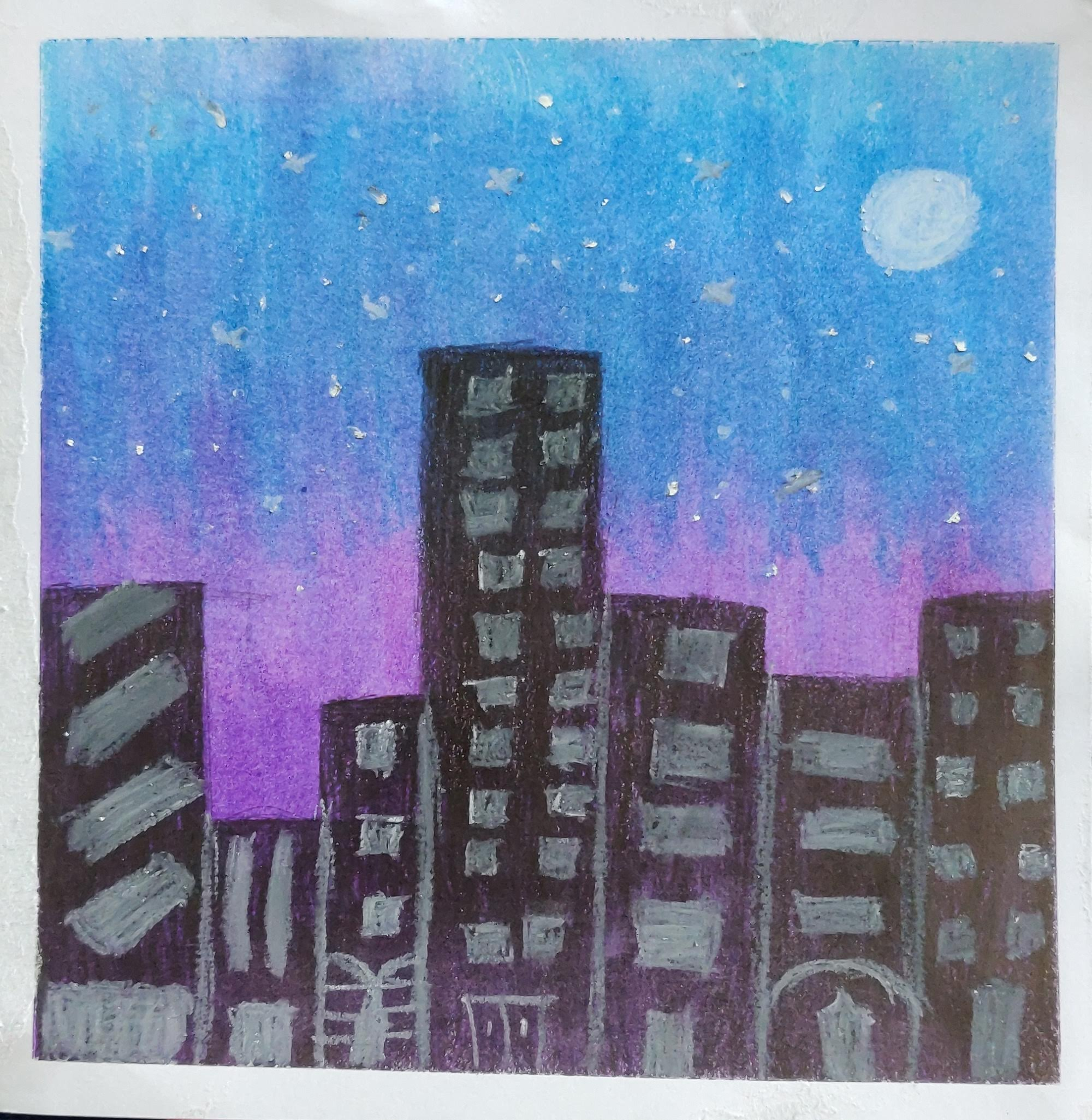 How to draw a City Night scene with oil pastels