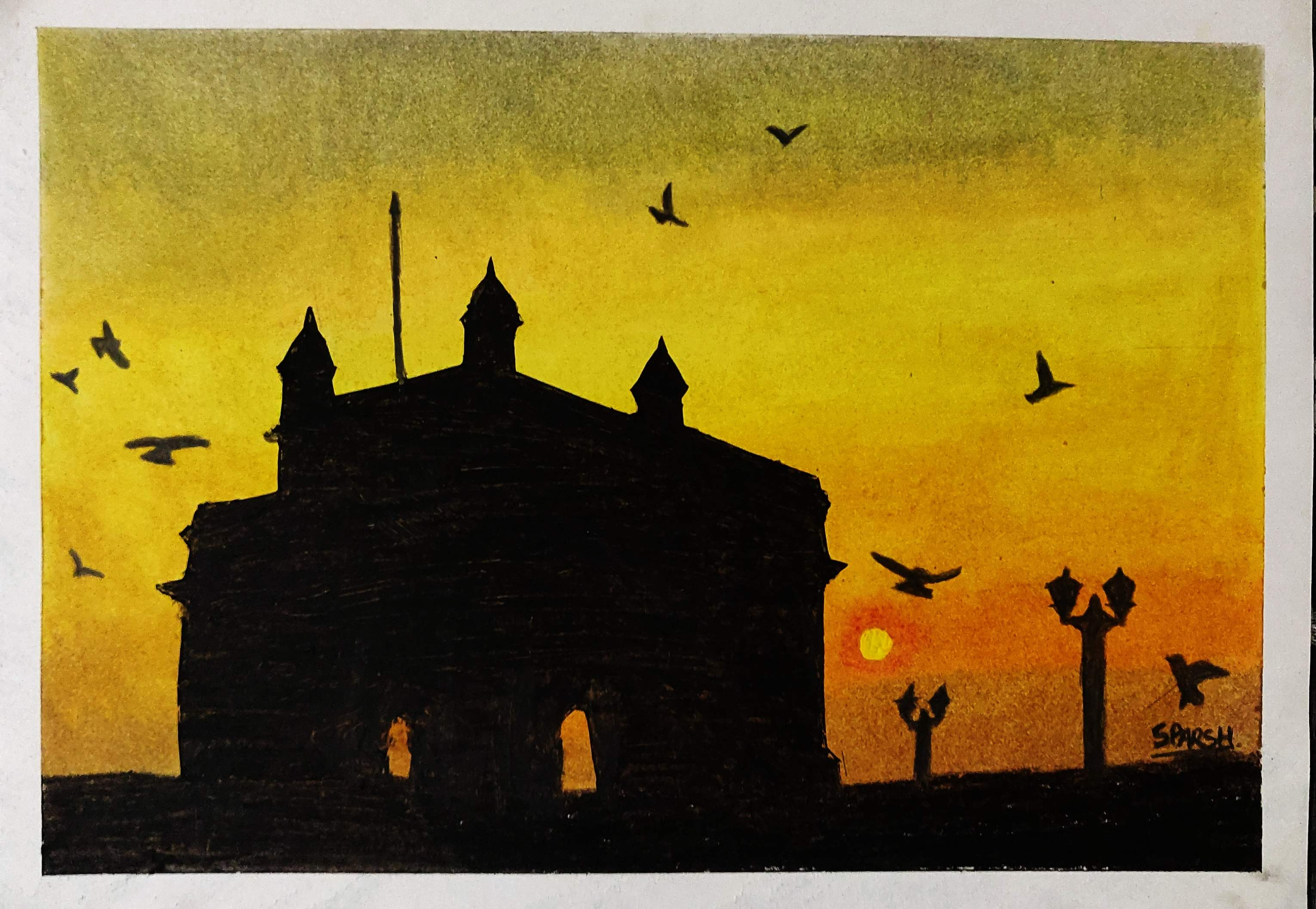 how to draw Gateway of India with Oil Pastels