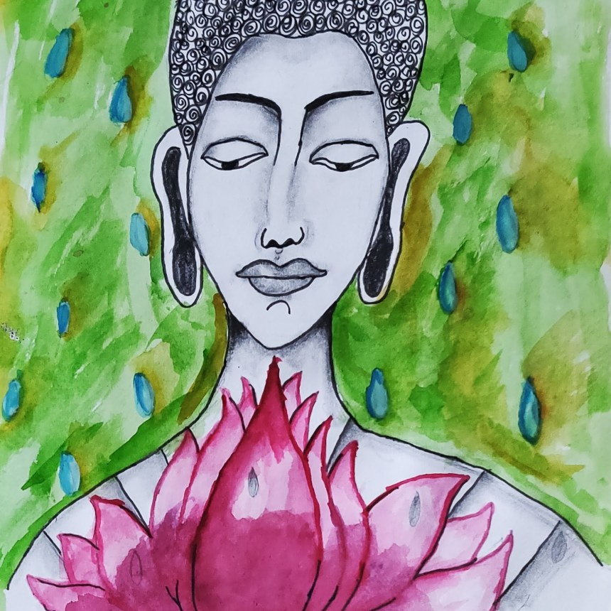 How to paint Gautam Buddha on a canvas with Water Colors