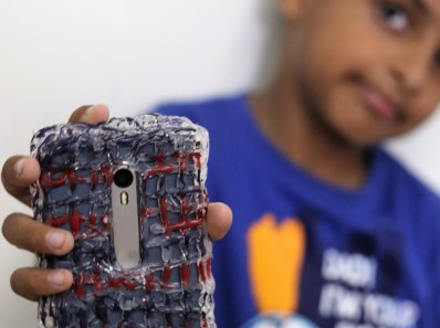 mobile cover with hot glue gun