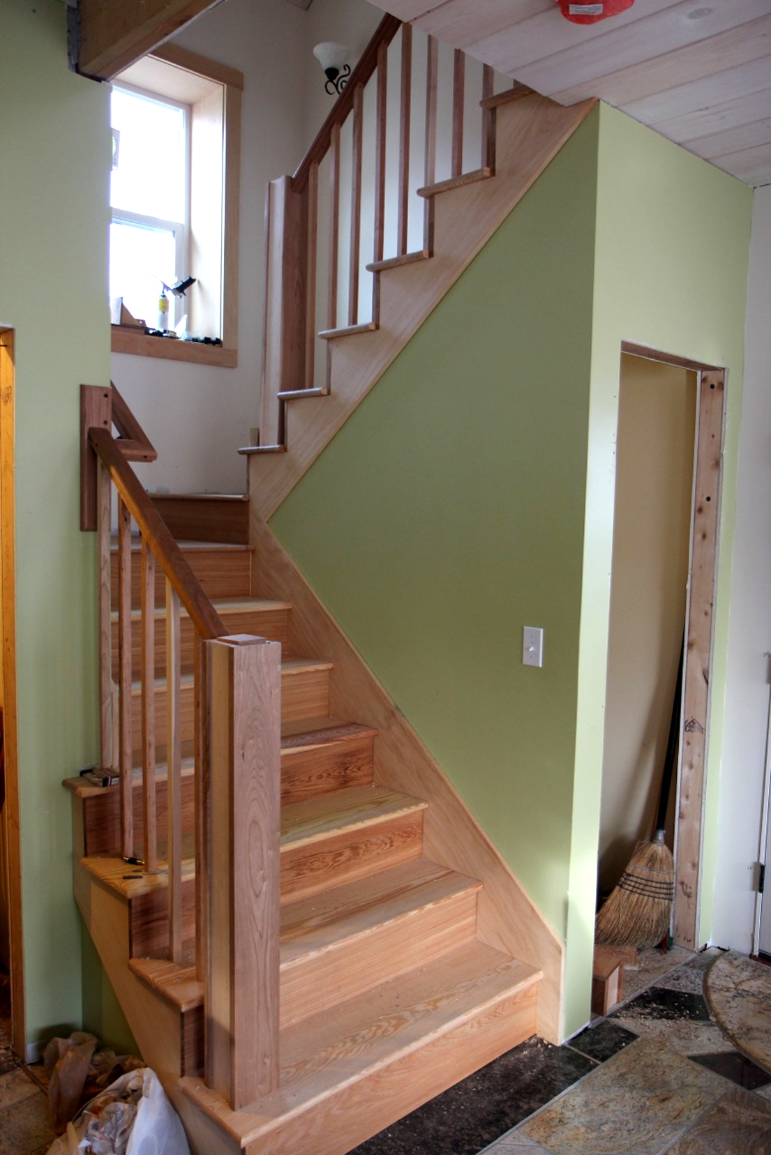Custom Wood Staircase Design Construction Of Spartan | Southern Yellow Pine Stair Treads | Hazardous | Stained Pine | Black Stained | Staining | Bullnose