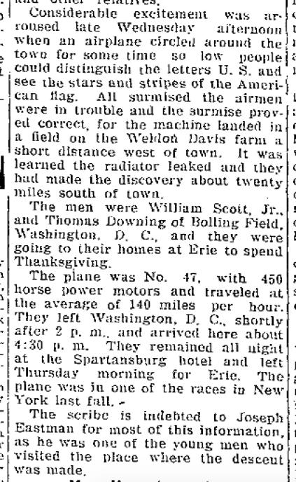 1925:11:27planeforcedtoland