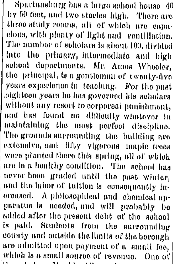 Spartansburg school as described in the Titusville Herald on June 10, 1874