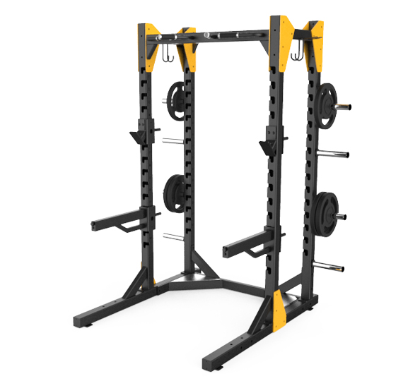 half rack en assistant device for free weight upper and lower body training used with wide range of barbell and dumbbell module type parts can be