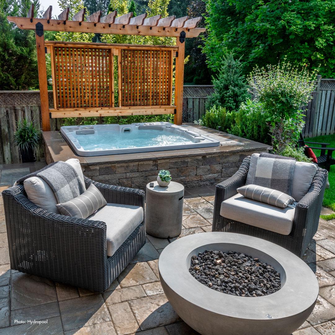 design your yard around a hot tub